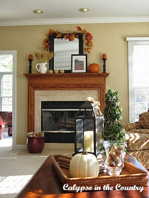 Builder Grade Oak Fireplace decorated for fall