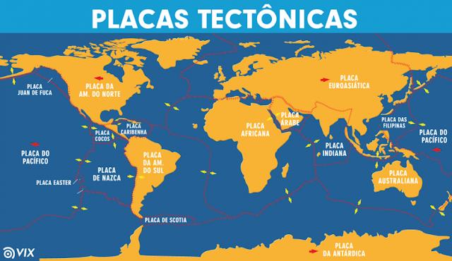 Mapa de placas tectônicas da Terra