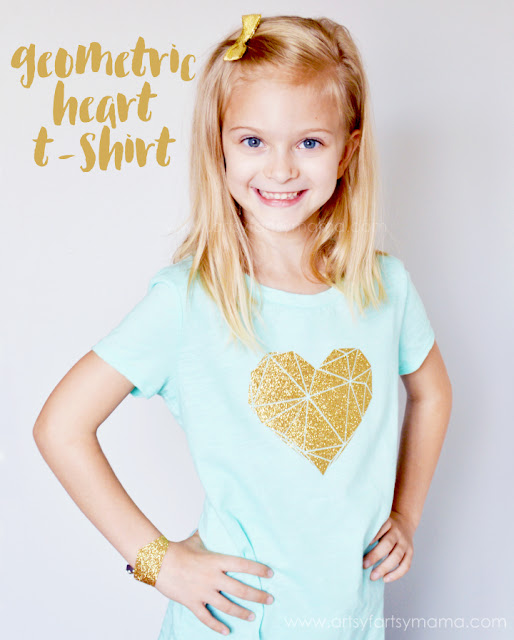 Geometric Heart T-Shirt with Free Cut File at artsyfartsymama.com