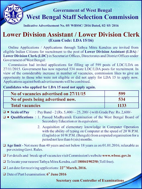WBSSC LDC/ LDA Vacancy, WBSSC Recruitment,