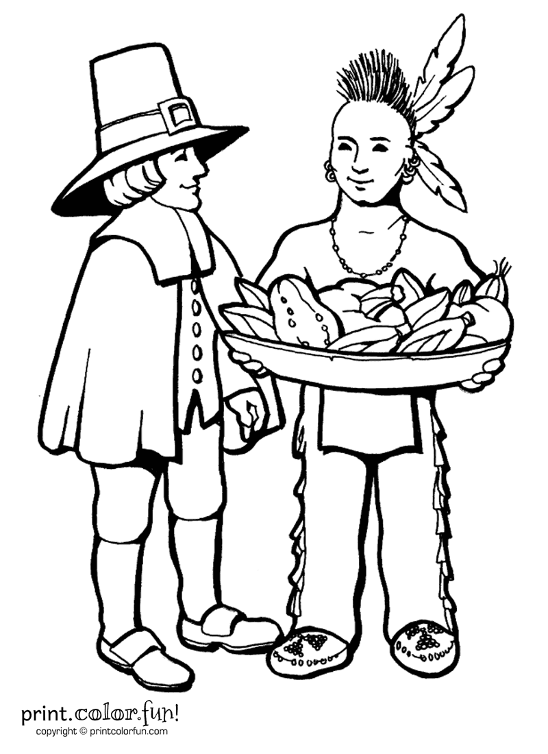 Thanksgiving day printable coloring pages minnesota miranda for Indian coloring pages for thanksgiving