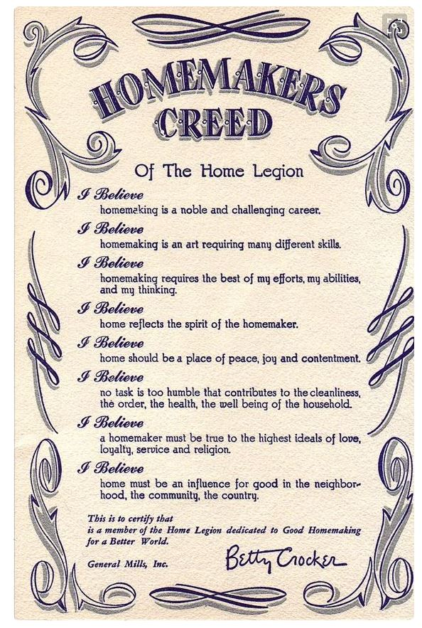 Modern Life Of A Vintage Housewife The Homemakers Creed