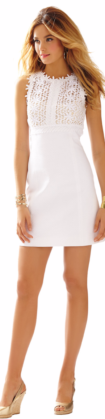 BREAKERS LACE TOP SHIFT DRESS WHITE