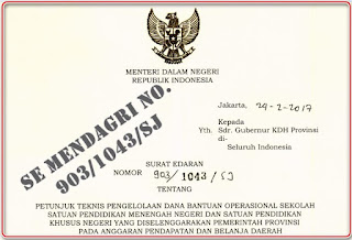 Surat Edaran Mendagri No. 903/1043/SJ Terkait Dana BOS