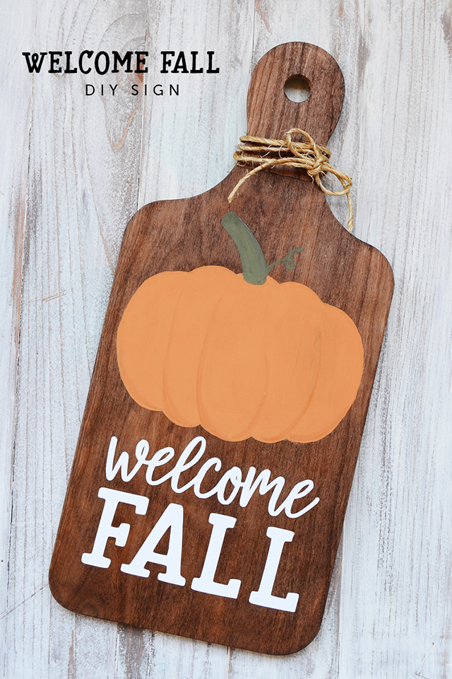welcome fall plaque bread board