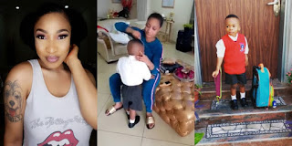 Watch Adorable Video Of Tonto Dikeh Preparing Her Son Andre For School