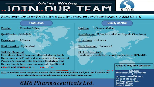 SMS Pharmaceuticals Ltd Walk In Drive For Production & QC at 17 November