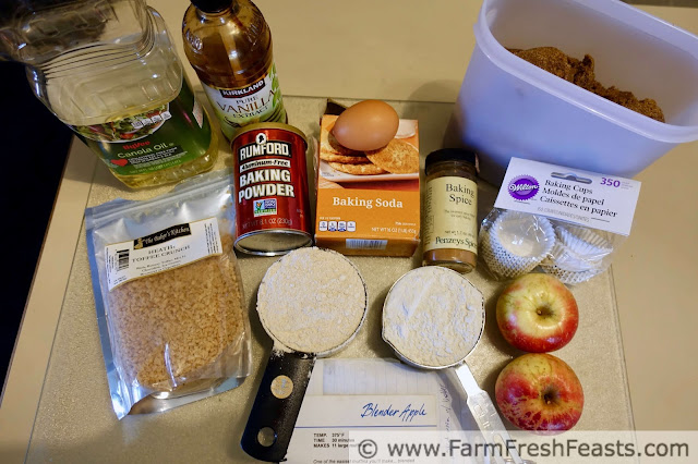 photo of ingredients to make easy toffee apple muffins