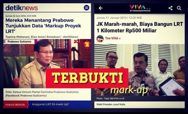 JK Marah Bangun LRT 1 Km Telan Rp500 Miliar, Omongan Prabowo soal Mark Up Terbukti?