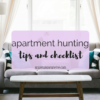 Apartment tips for searching for your first apartment and questions to ask before you get your next apartment. Apartment hunting checklist. What to consider when you're looking for an apartment. How to search for your next apartment. Apartment hunting do's and don't's. What to look for in your first apartment. What to do before you move in to your next apartment. law school blog. law student blogger | brazenandbrunette.com