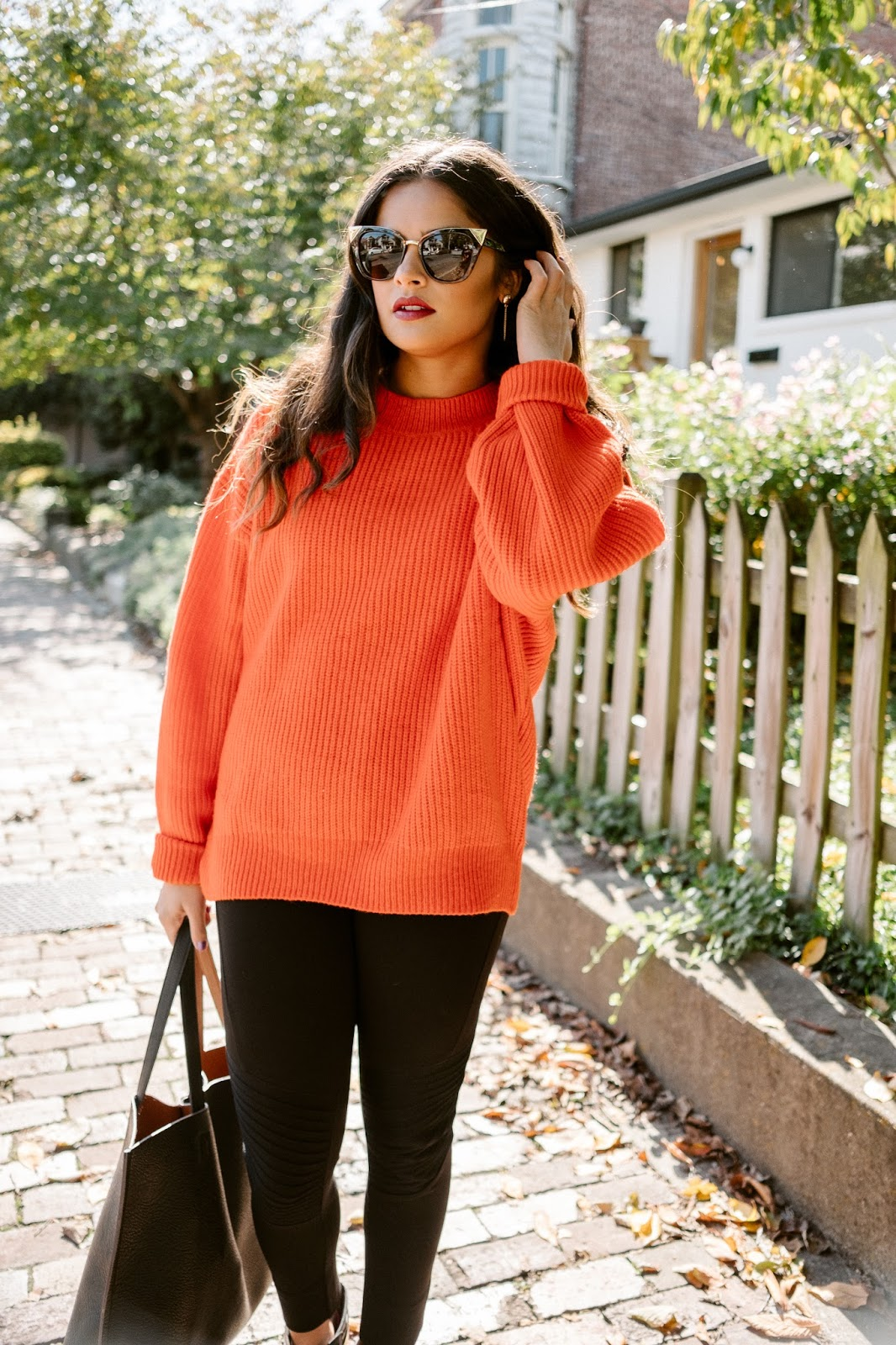 Priya the Blog, Nashville style blog, red chunky sweater, Zara leggings, black Rag & Bone Harrow booties, chunky red H&M sweater, Fall outfit, Fall outfit with chunky sweater