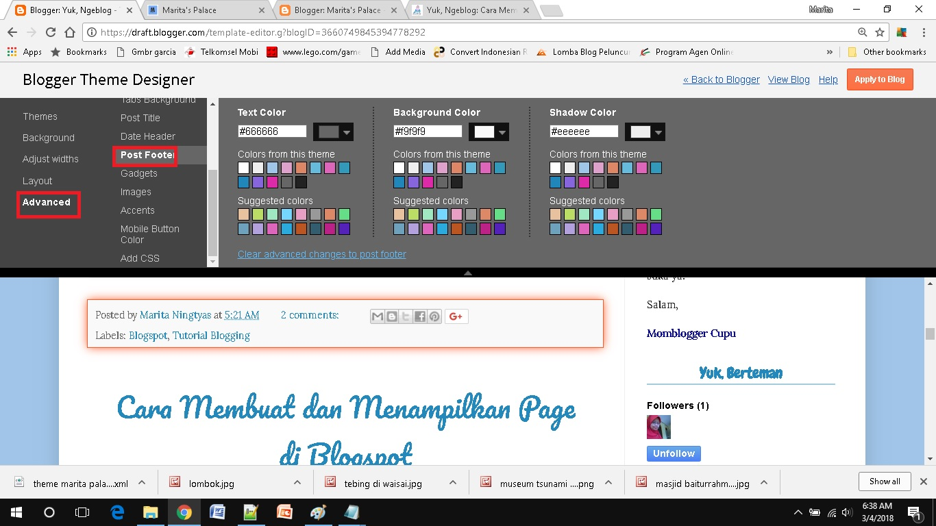 mendesain template blog sederhana pilih post footer