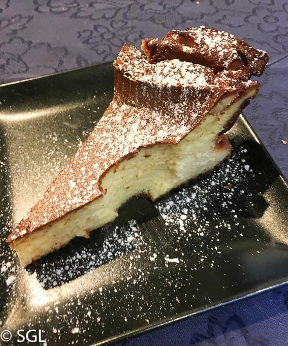Comer en Bilbao. Tarta de queso en Restaurante Nido