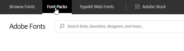 Activate Fonts Pack tab on Adobe Fonts