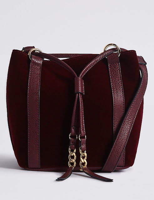 burgundy velvet bucket bag