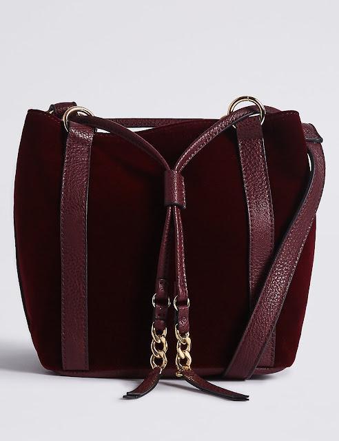 burgundy velvet bucket bag