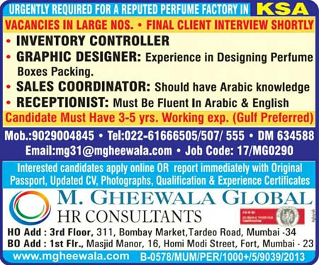 Jobs in Perfume Factory in Saudi Arabia | M.Gheewala Global HR Consultants