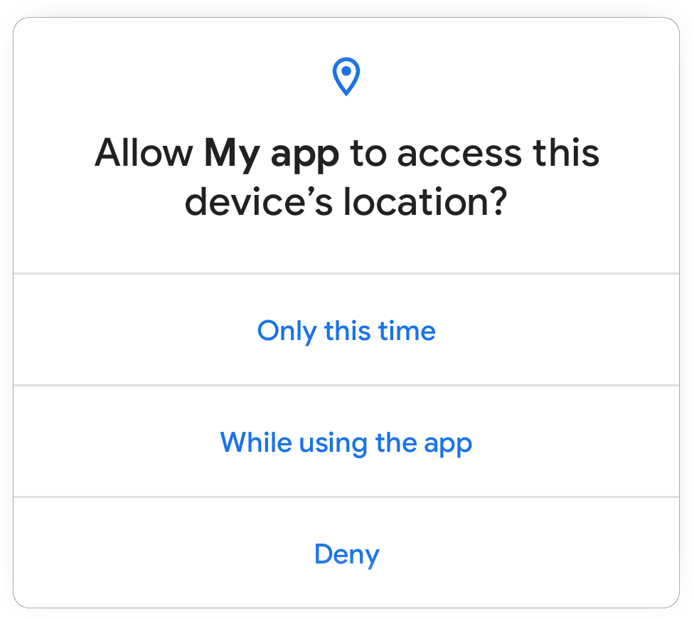 One-time permission dialog in Android 11.