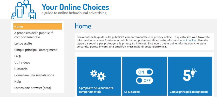 come togliere annunci opt out dal sito youronlinechoices
