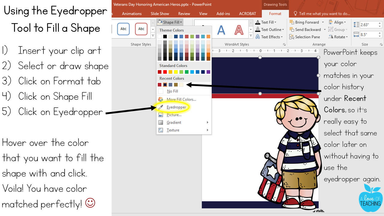 How to use the eyedropper tool in PowerPoint