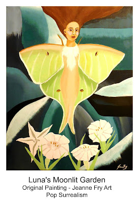Pop Surrealism Luna Moth Painting