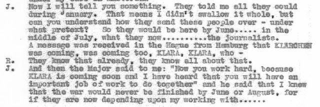 July 1, 1941 - KV 2/26 - 101x - Taped conversation between Richter & Jakobs re: Clara Bauerle.