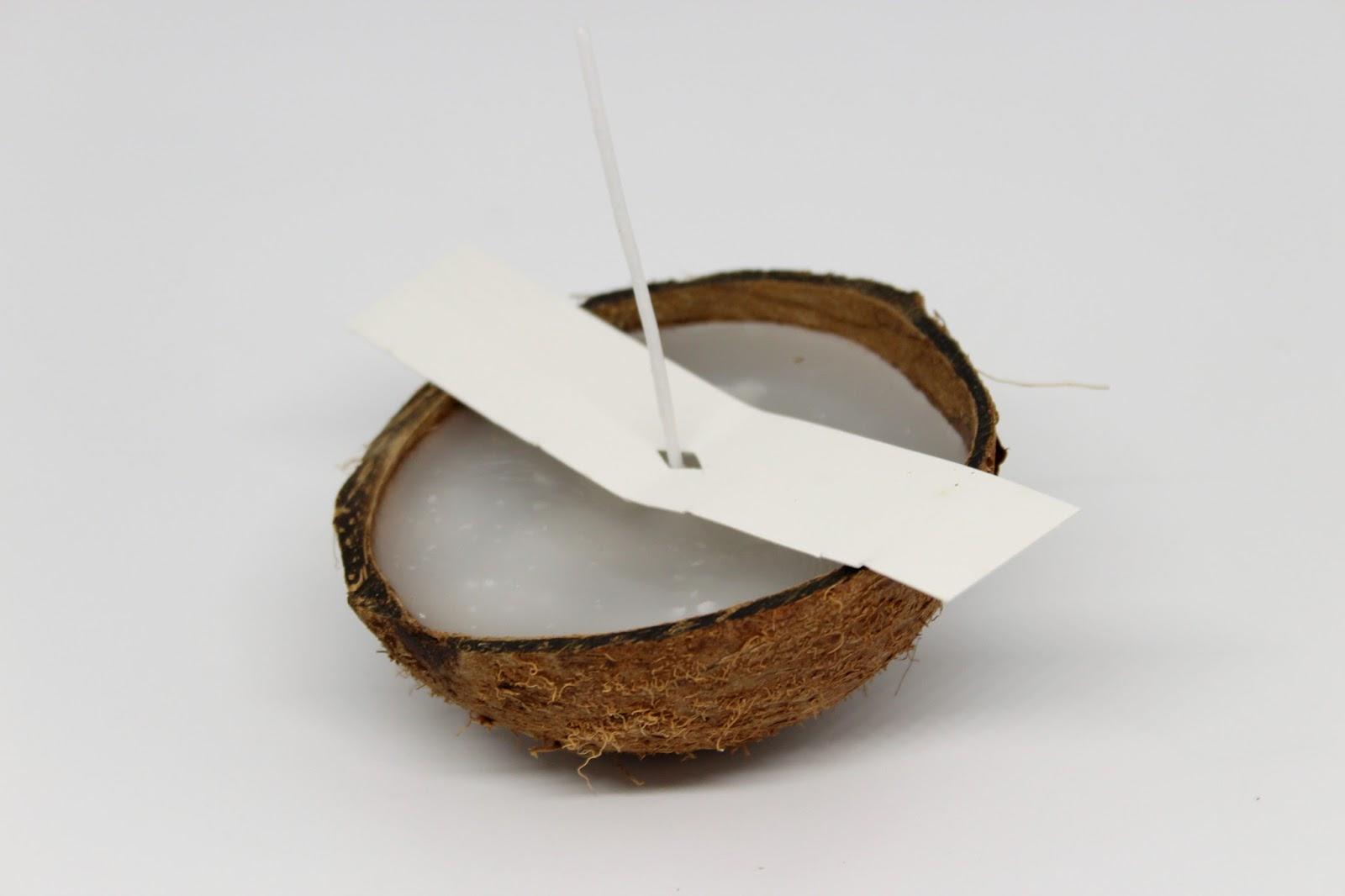 DIY Kerzen in einer Kokosnuss Schalen ganz einfach selber machen