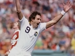 Giorgio Chinaglia celebrates a goal for New York Cosmos