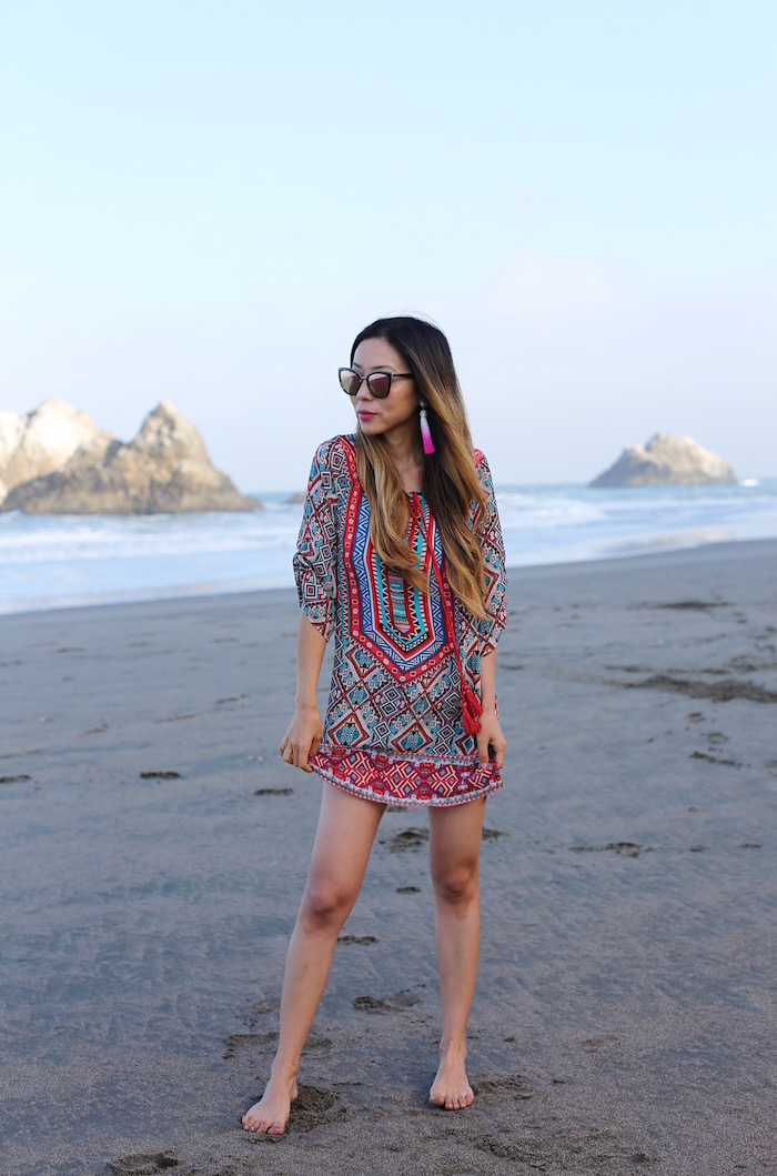 Tolani reese tunic dress, tunic dress, boho style tunic dress, tassels, tassel earrings, trends, beach dress, beach coverup, quay sunglasses, san francisco fashion blog