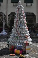 arbol de navidad reciclaje de botellas de plastico