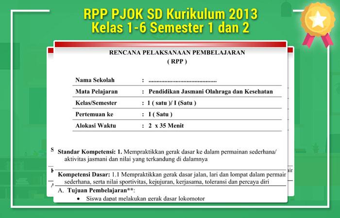 RPP PJOK SD Kurikulum 2013 Kelas 1-6