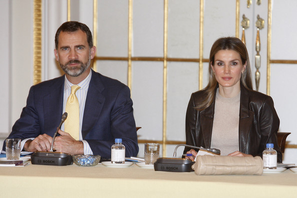 Crown Prince Felipe and Crown Princess Letizia attend the Meeting of Principe de Girona's Foundation at Palauet Albeniz