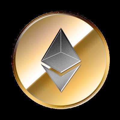 イーサリアム(Ethereum)のフリー素材(金貨グレーver)