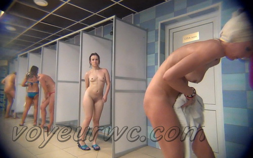 A hidden camera in a public shower films gorgeous women while they soap up their bodies (Hidden Camera Public Shower 164-173)