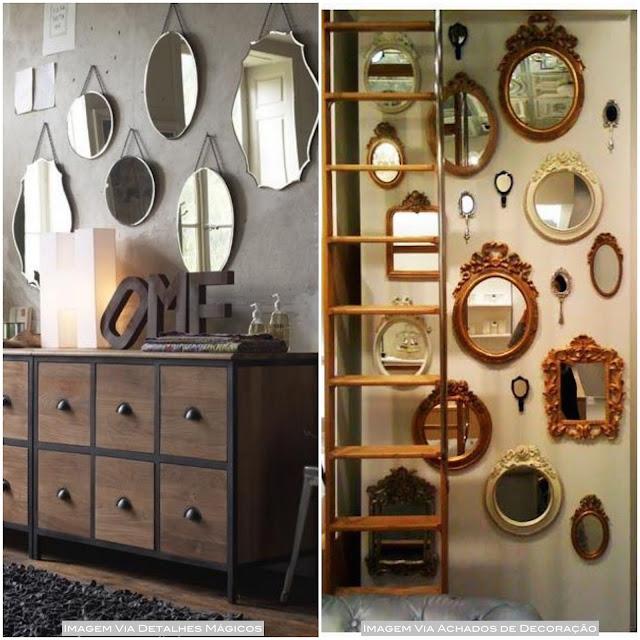 parede decorada com espelhos