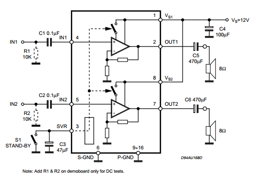 2 x 2W STEREO AUDIO AMPLIFIER ~ Circuit Wiring Diagram