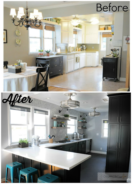 Before: updated 70s kitchen to After: Modern kitchen with black cabinets :: OrganizingMadeFun.com