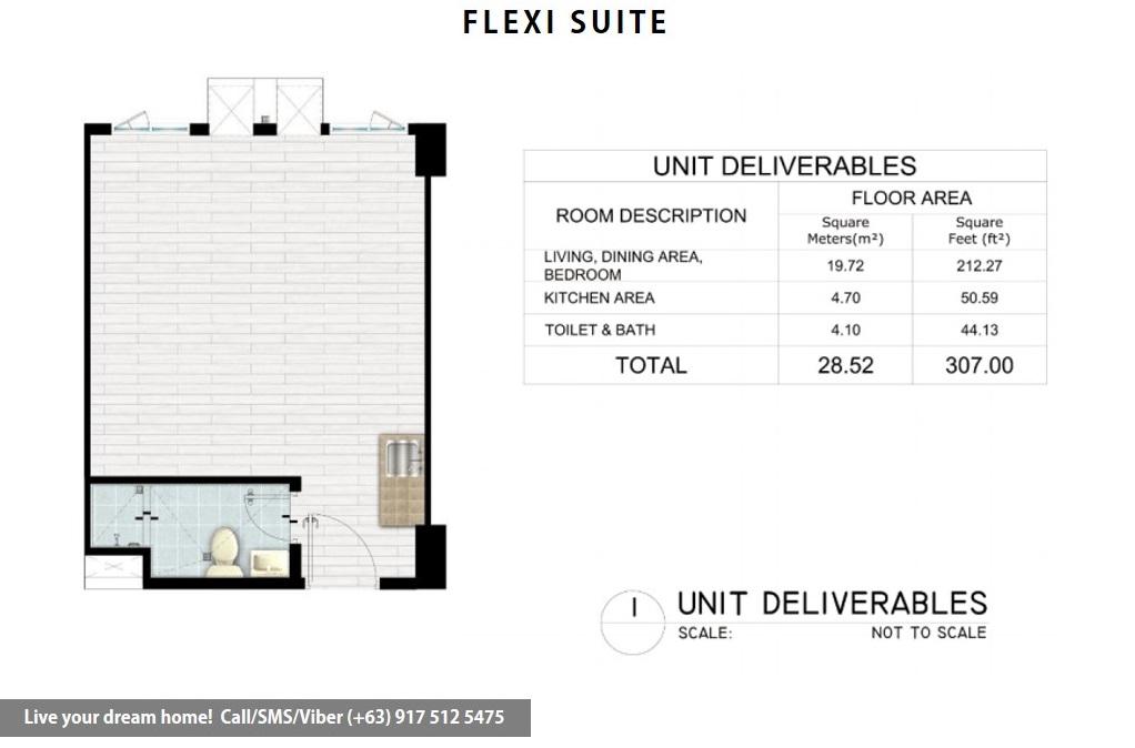 Floor Plan of SMDC Hope Residences - Flexi Studio Suite | Condominium for Sale Trece Martires Cavite