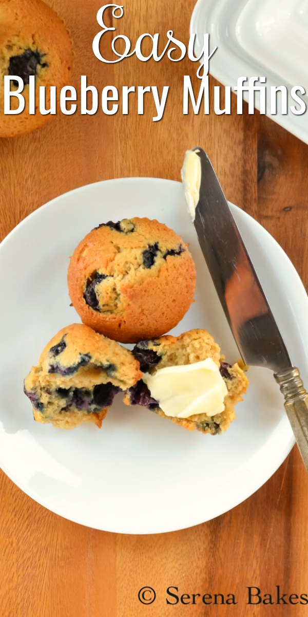 Delicious easy Blueberry Muffin recipe is a favorite for breakfast or brunch from Serena Bakes Simply From Scratch.