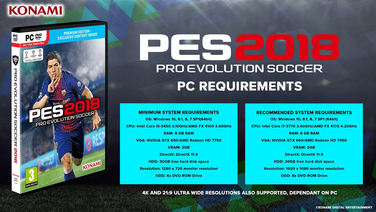 PES 2018 PC System Requirments