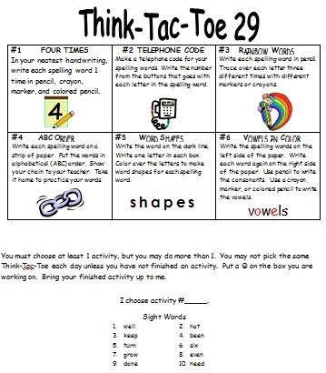 Mrs. Whitley's Kindergarten: Think-Tac-Toe