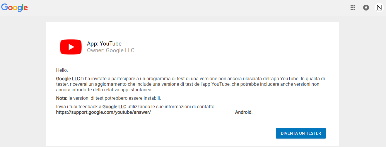 Diventa-YouTube-beta-tester