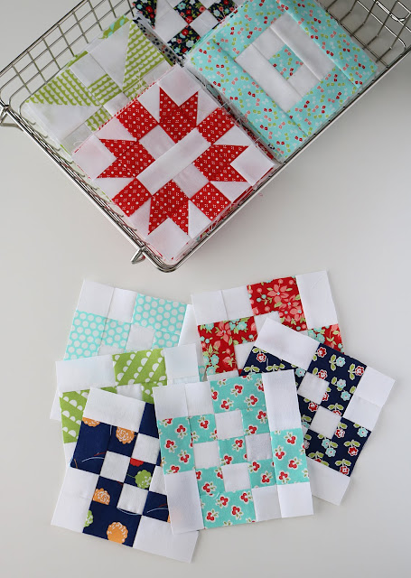 Rolling Nine Patch quilt block  - A Bright Corner