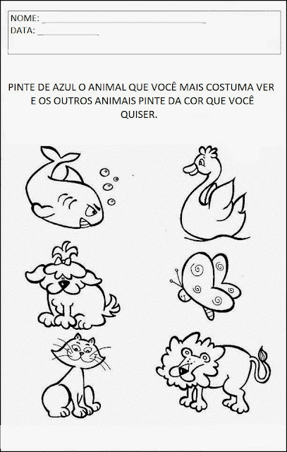 Projeto Animais - Pinte o animal de azul