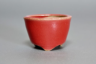 赤釉丸盆栽鉢(Red glaze bonsai pot)h2151