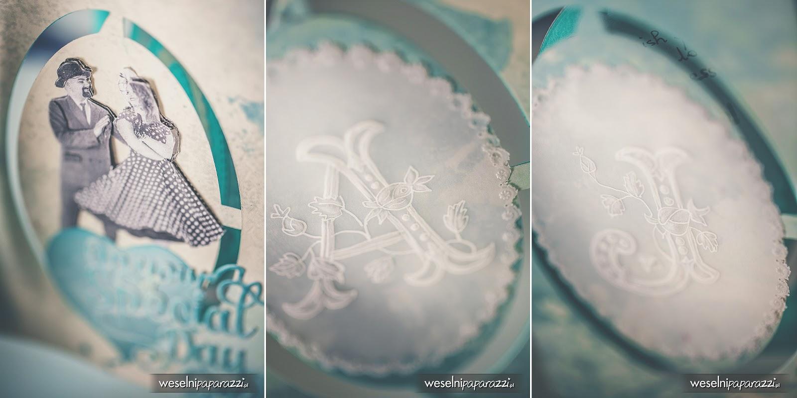 Zaproszenia ślubne turkusowo białe.