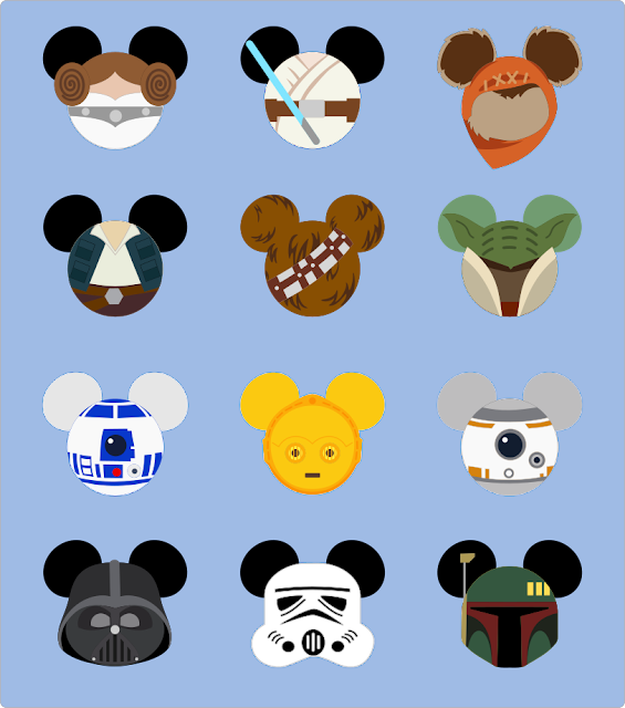Star Wars Characters in Mieckey Heads.