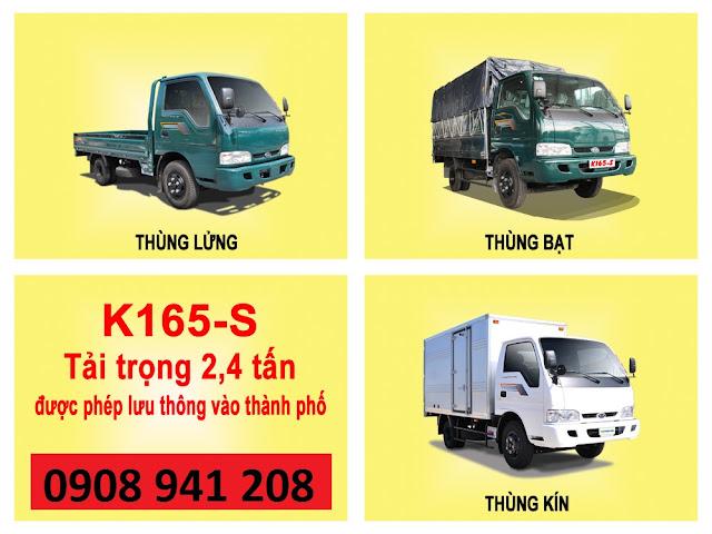Xe tải kia thaco k165s tải trọng 2,4t , 2,3t chạy trong thành phố , giá trả trước chỉ 130tr