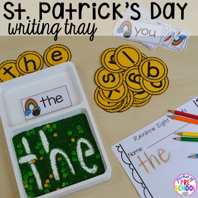 St. Patrick's Day sight word writing tray activity using gold letter coins plus FREE ten frame shamrock cards for preschool, pre-k, and kindergarten. A fun way to practice writing sight words.