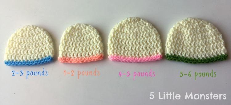 98f132fb625 5 Little Monsters  Basic Double Crochet Hats  Preemie-Adult
